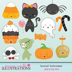 Clip Art Pictures, Kawaii Halloween Cute Digital Clipart for Card Design, Scrapbooking, and Web Design via Etsy Halloween Clipart, Halloween Images, Cute Halloween, Halloween Rocks, 2 Clipart, Cute Clipart, Kawaii Halloween, Clip Art Pictures, Kawaii Doodles