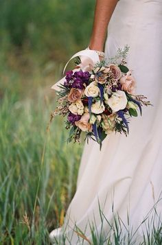 Photography - orchiddynasty.com/ | gorgeous blooms in blush, eggplant, blues, rusts - Fall Wedding Bouquet { Roses Wedding Bouquets } fabmood.com #fallbouquet