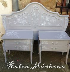 Antique headboard and bedside tables game, restored, and painted by hand with a Chalk Paint base in grey mauve of Authentic, and decorated freehand Country Furniture, My Furniture, Cabinet Furniture, Repurposed Furniture, Furniture Making, Furniture Makeover, Vintage Furniture, Painted Furniture, Plywood Headboard