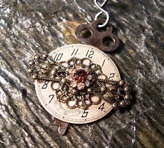 Steampunk Watch Face Necklace Filigree Skeleton by AmongTheRuins, $45.00