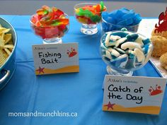 """UNDER THE SEA Party:  Treats labeled """"Fishing Bait"""" (Gummie Worms) and """"Catch of the Day"""" (Gummie Fish, Sharks, & Whales). Could also serve in plastic beach toys (Pails, boats, etc.)"""