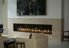 Linear Gas Fireplace Feature Wall