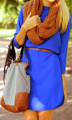 blue dress scarf brown handbag belt Clothing outfit women fashion style apparel spring summer street