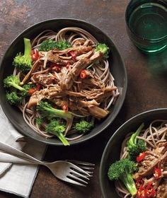 Slow-Cooker Asian Pork With Noodles and Broccoli | Let your slow cooker do all the work for this simple meal. All you have to do is cook the noodles before serving.