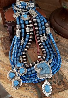 Southwestern denim lapis collection boho layering necklaces by Schaef Designs Jewelry online Copper Jewelry, Turquoise Jewelry, Sterling Silver Jewelry, Beaded Jewelry, Jewellery, Beaded Necklaces, Oxidized Silver, Statement Necklaces, Custom Jewelry