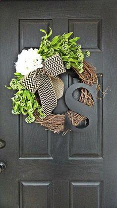 Items similar to Spring and Summer Wildflower, Hydrangea, and Gray Chevron Burlap Wreath With Black Monogram, Spring Hydrangea Wreath. Year Round Wreath on Etsy Diy Wreath, Door Wreaths, Wreath Ideas, Grapevine Wreath, Initial Wreath, Red Hydrangea, Hydrangea Wreath, Chevron Burlap Wreaths, Chevron Ribbon