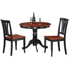 3-Piece Kitchen Nook Dining Set-Small Kitchen Table and 2 Kitchen... ($278) ❤ liked on Polyvore featuring home, furniture, black, nook dining set, black table and chairs, ebony furniture, nook furniture and black furniture