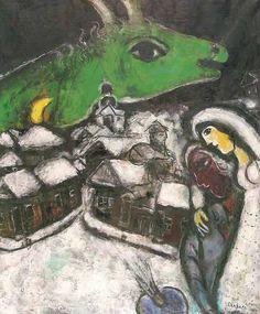 Marc #Chagall, La notte verde, 1952 (www.dueminutidiarte.com)
