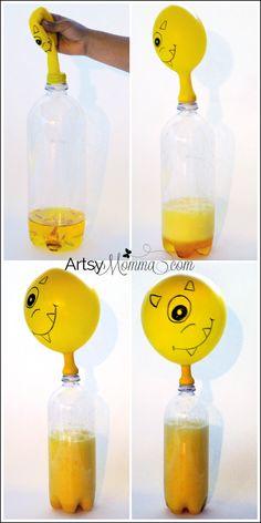 Self-inflating Balloon Science Experiment - Halloween Activity for Kids #creativepreschoolers