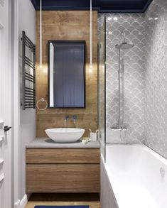 Bathroom Tile Ideas – Colorful Tiled Bathrooms scallop tiles bathroom – Go for beautifully unique bathroom final view by installing scallop patterned tiles on the walls. Bathroom Layout, Modern Bathroom Design, Bathroom Interior Design, Small Bathroom, Bathroom Ideas, Minimal Bathroom, Relaxing Bathroom, Restroom Design, Bathroom Vintage