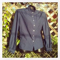 Vintage 1960s Secretary Blouse Top Ruffle Collar by VBombVintage, $16.00