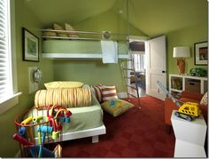 Kids loft bed featured on HGTV features Kee Klamp pipe fittings for the railing and ladder