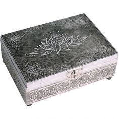 Embossed Silver Finish Wood Lotus Tarot Box Felt Lining 7x5 inch (18x13cm)