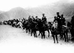 Charging sabotage in Sept 1931, Japan sent cavalry into Manchuria to protect its rail line. (Japanese agents actually set the dynamite.) Six months later, the iron ore-rich Chinese province became a Japanese puppet state with its own emperor. The hapless League of Nations condemned Japan for its aggression. Tokyo then quit the League.