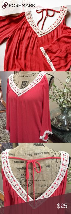 🎉Price Drop🎉Altar'd State Tunic 100% Rayon coral colored tunic, features crocheted collar and sleeve trim, cold shoulder sleeves, measures 26 inches from crochet trim to bottom hem Altar'd State Tops Tunics