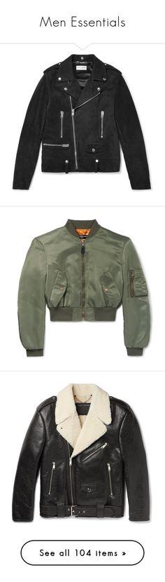 """Men Essentials"" by jckyleeah ❤ liked on Polyvore featuring men's fashion, men's clothing, men's outerwear, men's jackets, mens studded jacket, mens suede biker jacket, mens zip jacket, mens suede moto jacket, mens suede leather jacket and mens bomber jacket"