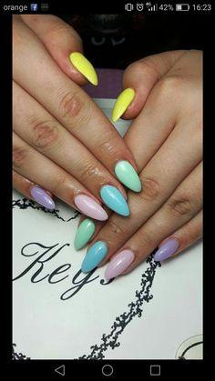 #nail #nails #nailart #colorful #blue #pink #lilliac #yellow