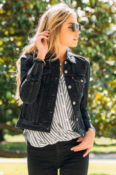 Levi s Trucker Jacket with Black Bow - Black  teenfashionwinter Winter  Outfits Women 9da38a007