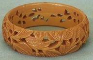 Vintage Carved Bakelite Bracelet Tropical Flower Leaves