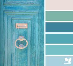 A Door Aqua palette from Design Seeds Colour Pallette, Color Palate, Colour Schemes, Color Patterns, Color Combos, Color Azul, Photo Bleu, Aqua Door, Palette Design