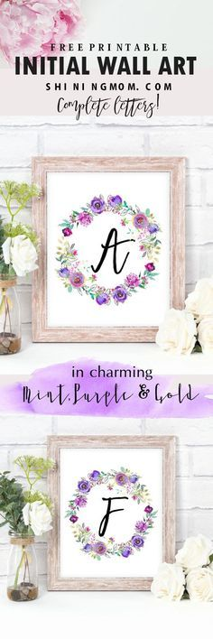 Display these beautiful free initial wall art printables in your room! They come in charming purple and gold prints!
