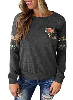 6bac0235d7e Dokotoo Womens Plus Size Cute Ladies Casual Long Sleeve Floral Print Tunics Sweatshirt  Pullover Blouses Tops Juniors Grey XX-Large