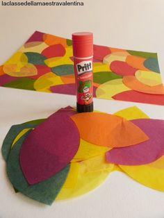 Care maestre oggi vi faccio vedere cosa si può realizzare con la carta velina.   Ho fustellato tantissime foglie di carta velina e, d...