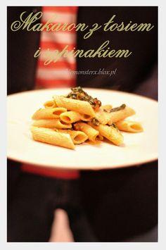 Makaron z łosiem i szpinakiem  #pasta #spinach #szpinak # #łosoś #salomon #fish