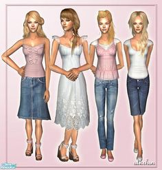 7 outfits & 6 new meshes for adult female. Found in TSR Category 'Sims 2 Clothing Sets' Sims Community, Sims Resource, Sims 2, Outfit Sets, Female, Outfits, Clothes, Suits, Clothing