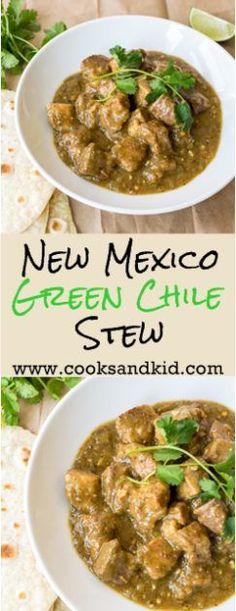 Recipe for homemade New Mexico Green Chile Stew. Pork shoulder simmered in green chiles, cumin and Mexican oregano until fork tender. www.cooksandkid.com