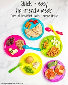 A round-up of healthy, easy and quick kid friendly meals and recipes you can throw together at the last minute on busy days.