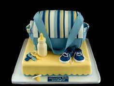 Awesome Diaper Bag Cakes for Boys! silver and yellow chevron theme baby shower Diaper Bag Cake, Baby Diaper Bags, Baby Shower Cakes, Baby Boy Shower, Artisan Cake Company, Fondant Cake Designs, Fondant Toppers, 2nd Baby Showers, Cake Templates