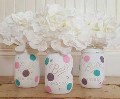Distressed Polka Dot Mason Jars, Spring Decor, Easter Decor,  Mason Jar Centerpiece, Shabby Chic Decor, Mason Jar Set, Spring Centerpiece by HeartToHomeDesign on Etsy