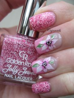 Nail art: Pink French with beautiful flower by Cajanails Tutorial at: http://www.youtube.com/cajanails