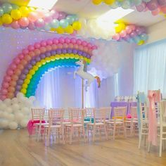 ideas for birthday party decorations rainbow baby shower Rainbow Unicorn Party, Rainbow Birthday Party, Rainbow Theme, Unicorn Birthday Parties, Birthday Party Decorations, Girl Birthday, Rainbow Balloon Arch, Birthday Ideas, Rainbow Baby