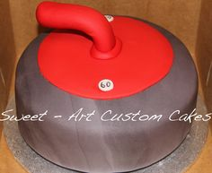 """"""" Curling Rock Red-Handled Cake by Sweet-Art Custom Cakes 70th Birthday Ideas For Mom, Birthday Themes For Adults, New Birthday Cake, Happy 60th Birthday, Mum Birthday Gift, Birthday Cupcakes, Curling Stone, Sport Cakes, Cupcake Cakes"""