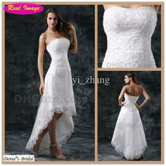 Wholesale A-Line Wedding Dresses - Buy - Short Beach Wedding Dresses front Short And Long Back Wedding Dress A Line High Low Bridal Strapless Beaded Lace Tulle Summer Dr, $130.68   DHgate