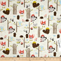 Timeless Treasures Woodland Animals Cream from @fabricdotcom  Designed for Timeless Treasures, this cotton print fabric is perfect for quilting, apparel and home decor accents. Colors include tan, green, yellow and shades of brown, blue and red.