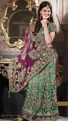 $500.64 Green And Wine Net,Silk Bridal Lehenga 13708