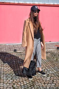 Tartan and camel coat