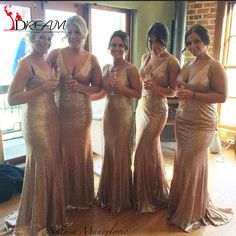 Sparkly Gold Sequin Long Bridesmaid Dresses 2016 New Fashion V neck Sleeveless Maid of Honor Dress Formal Party Gowns