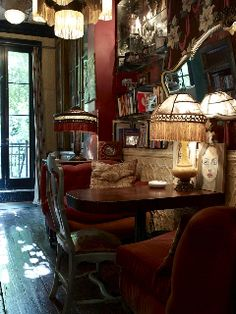 A few years back I shot Lorraine Kirke's New York pad for my book Decorating with Style (with photographer extraordinaire Graham Atkins-Hughes). The house is situated in Greenwich Village in NYC, a… Bohemian Interior, Bohemian Decor, Bohemian Cafe, French Bohemian, Bohemian Gypsy, Villa Boheme, New York Brownstone, Abigail Ahern, Deco Boheme
