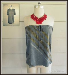 iLoveToCreate Blog: Strapless, No-Sew T-shirt #2, DIY