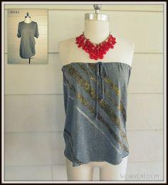 iLoveToCreate Blog: Strapless, No-Sew T-shirt #2, DIY