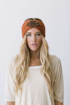 Crystalline BOHO Knitted Jeweled Headband RUST by ThreeBirdNest - A Great Way to add Boho Chic Flare to any outfit! Hair Turban, Turban Headbands, Knitted Headband, Headband Hairstyles, Trendy Hairstyles, Knitted Hats, Thick Headbands, Updo Hairstyle, Bride Hairstyles