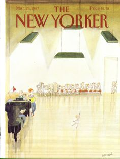 New Yorker cover Sempe little girl ballerina does a solo 3/23 1987