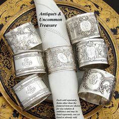 We love the look of antique French sterling silver napkin rings at the table or…