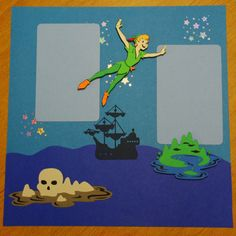 12 x 12 Premade Disney's Peter Pan by PapercraftCollective on Etsy, $7.00 Vacation Scrapbook, Disney Scrapbook Pages, Scrapbook Sketches, Baby Scrapbook, Scrapbook Paper Crafts, Scrapbook Cards, Scrapbooking Ideas, Scrapbook Layouts, Recipe Scrapbook