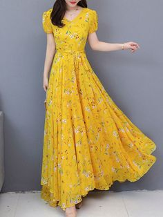 Stylish Dresses For Girls, Stylish Dress Designs, Casual Dresses, Long Gown Dress, Chiffon Maxi Dress, Maxi Dresses, Floral Print Maxi Dress, Swing Dress, Pretty Dresses
