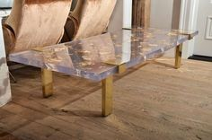 "hn-yjournal: "" Contemporary Gold Leaf Inlay Coffee Table with Brass Frame via www.1stdibs.com """